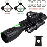 XOPin Rifle Scope Hunting Combo C4-16x50EG Dual Illuminated with Green Laser Sight 4 Holographic Reticle Red/Green Dot for Weaver/Rail Mount (Updated 4-16x50EG Green Laser)
