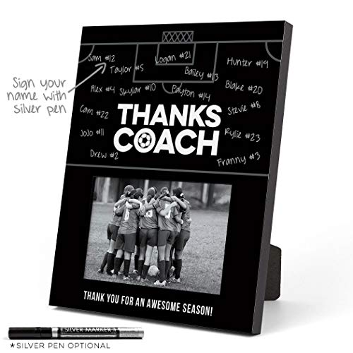 ChalkTalkSPORTS Personalized Soccer Photo Frame | Coach (Autograph) Picture Frame | Black