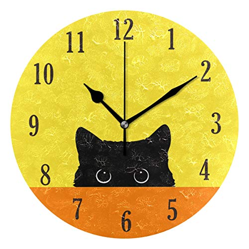 - senya Cat Pattern Silent Round Wall Clock Decorative, Battery Operated Easy to Read for Indoor Living Room Bedroom