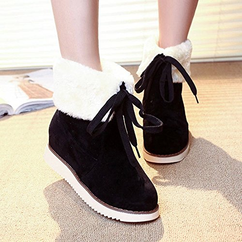 Hatop Women Boots, Womens Winter Boots Plush Outdoor Lace-up Shoes Warm Ankle Snow Boots Black