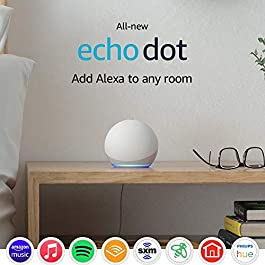 All-new Echo Dot (4th Gen) | Smart speaker with Alexa | Glacier White