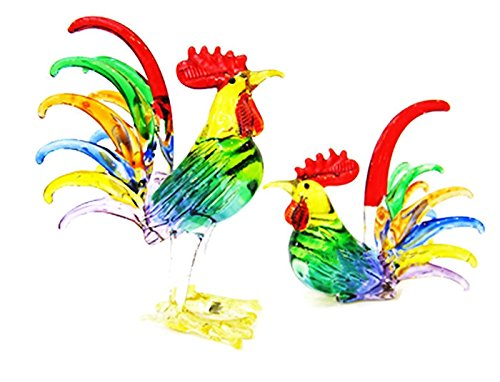 ChangThai Design Farm MINIATURE HAND BLOWN Art GLASS Couple Rooster 7 Shade Color FIGURINE Collection