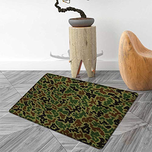 Camouflage Door Mats Area Rug Green Camo Pattern Abstract Formless Design Blending into The Forest Floor mat Bath Mat for tub 3'x5' Green Brown - Green Rug Somerset