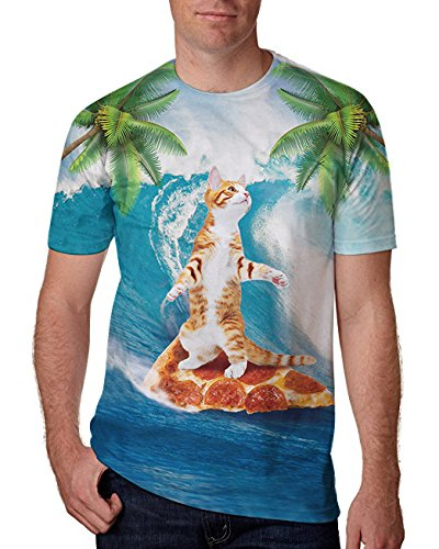 RAISEVERN Cat Surfing Pizza 3D Digital Printed Casual Round Neck T-Shirts Top Shirt XXL