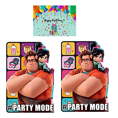 Wreck It Ralph 2 Party Invitations - Ralph and Vanellope Break the Internet 16 Invitation Cards with Envelopes Bundled with JPMD Birthday Card