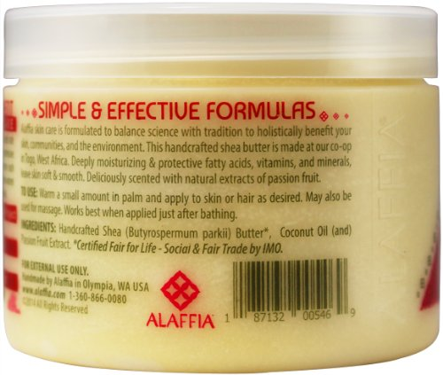 Alaffia - Everyday Shea - Pure Fair Trade Shea Butter, 11 Ounces 7 100% FAIR TRADE: Feel good about how you are getting your products with 100% Certified Fair Trade Ingredients. PURE AND SIMPLE: Made from pure African unrefined shea butter. PROTECT WITH FAIR TRADE INGREDIENTS: Deeply moisturizing & protective fatty acids, vitamins, and minerals, leave skin soft & smooth.