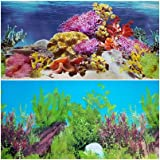 New!! 23 Inch Height Aquarium Background Colorful Coral And Freshwater Plants Decorations (30''(L) x 23''(H))