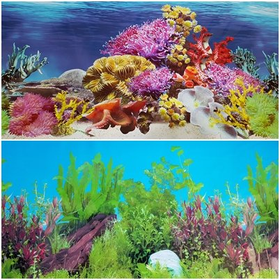 New!! 23 Inch Height Aquarium Background Colorful Coral And Freshwater Plants Decorations (72''(L) x 23''(H)) by Karen Low