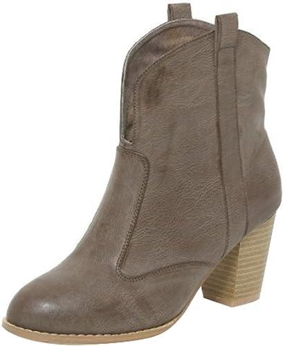 Damen Stiefeletten Ankle Boots Schuhe Bootie High Heel Western Stiefel Taupe