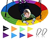 Giant 40'' Saucer Tree Swing in Elite Rainbow - 400 lb Weight Capacity - Durable Steel Frame, Waterproof - Adjustable Ropes - Easy to Install - Bonus Flag Set and 2 Carabiners - Non-Stop Fun for Kids!