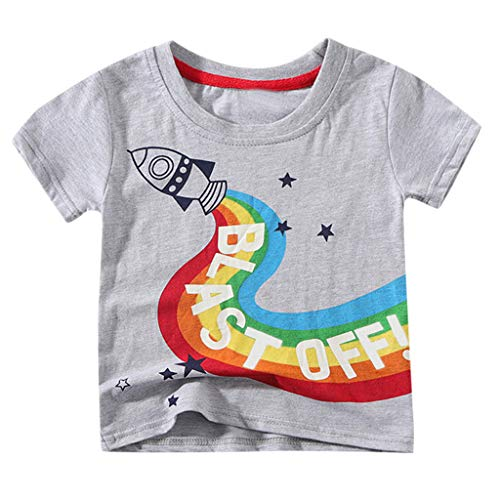 - Zlolia Newborn Boys&Girls Cartoon Print T-Shirt Cotton Round Neck Comfort Short Sleeve Pullover Kids Summer Fashion Outfits Gray