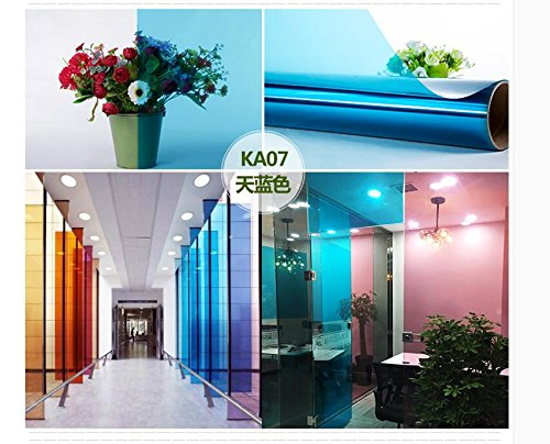 HOHO Blue Clear Solar Film Tint Decorative Window Glass Privacy Film for Residential Buildings 60''x98ft Roll by HOHO