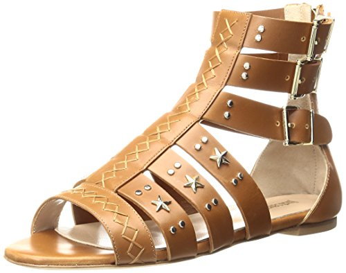 Just Cavalli Women's Cow LTH with Studs Gladiator Sandal Caramel 1Yz7gY