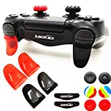 L2 R2 Triggers Ps4 (2 Pairs Trigger Extender, 6Pcs Thumbstick Grips, 2 Pairs LED Light Bar Decal) for Ps4 Dualshock Controller (Black&red) (Color: black&red)