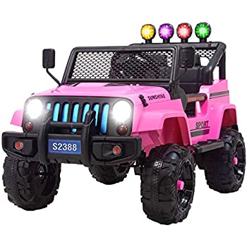 K Top Deal 12V Jeep Style Kids Ride On Toy Car MP3 w/ Remote Control, Pink