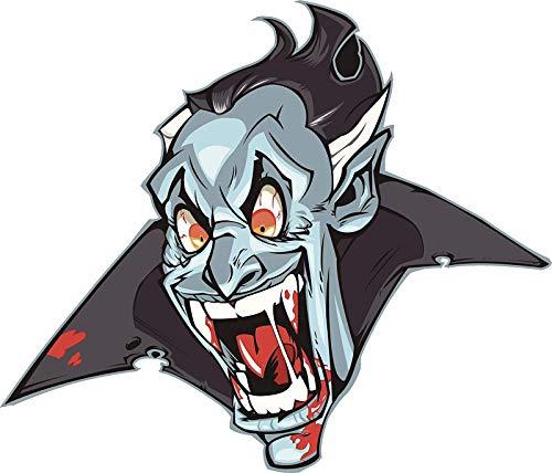 EW Designs Creepy Halloween Dracula Vampire Cartoon Face Vinyl Decal Bumper Sticker (4