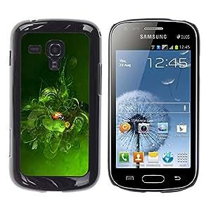 Qstar Arte & diseño plástico duro Fundas Cover Cubre Hard Case Cover para Samsung Galaxy S Duos / S7562 ( Green Ladybug Nature Spring Leaves)