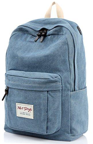 [HotStyle Basic Classic] 599s Vintage Denim School Bookbag Laptop Backpack, Blue