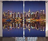 Ambesonne Landscape Curtains, Cityscape Scenery of New York City at Midnight Usa Ocean Reflection Coast Photo, Living Room Bedroom Window Drapes 2 Panel Set, 108 W X 84 L Inches, Multicolor For Sale