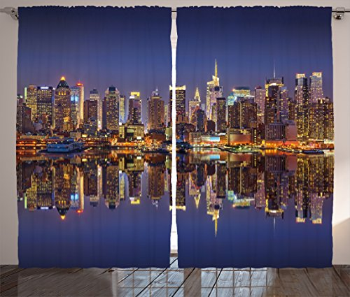 Ambesonne Landscape Curtains, Cityscape Scenery of New York City at Midnight USA Ocean Reflection Coast Photo, Living Room Bedroom Window Drapes 2 Panel Set, 108 W X 84 L Inches, ()