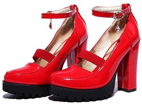 Escarpins Coupe Classique Femme Rouge Ronde Plateforme Aisun ETPXxqwx