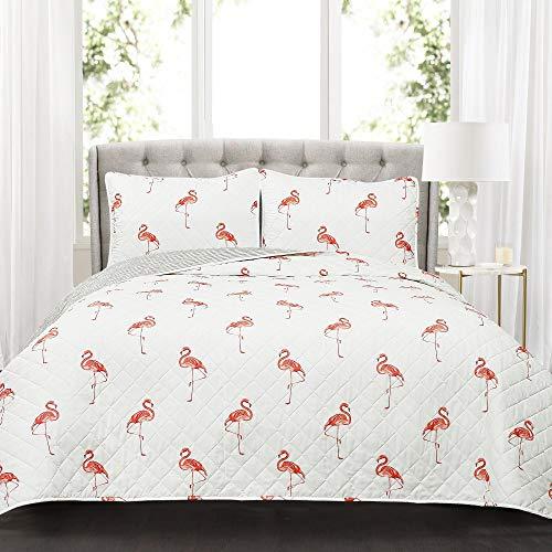 Lush Decor 3 Piece Kelly Flamingo Quilt Set Full/Queen Coral (Flamingo Coral)