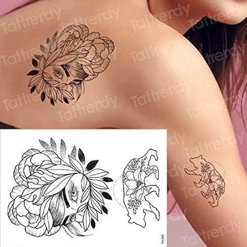 tzxdbh Mujeres Big Black Sketch Flower Tattoo Arte Corporal ...