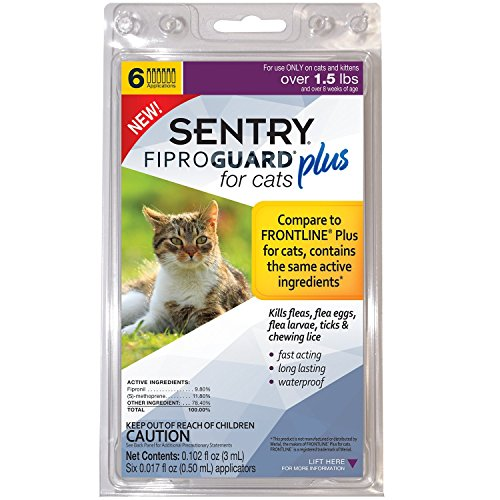Fiproguard Sentry PLUS for Cats & Kittens Over 1.5 lbs. Topical Flea & Tick Treatment, 6 Month Supply, 6 CT