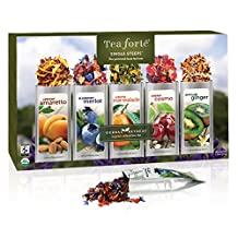 Tea Forte HERBAL RETREAT Single Steeps Organic Herbal Tea Loose Leaf Tea Sampler, 15 Single Serve Pouches, Relaxation Tea