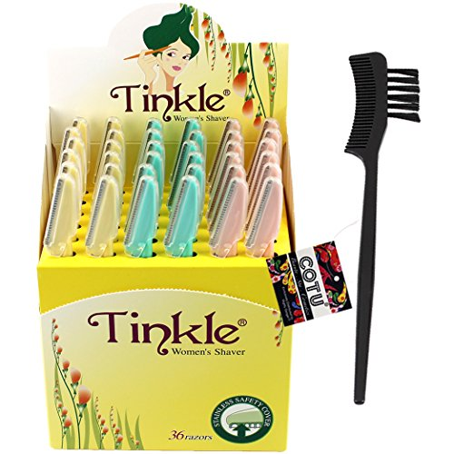 COTU (R) Eyebrow Comb (1 pc) and Tinkle Women's Shaver Razors, Pack of 36 Combo Bundle by COTU ®
