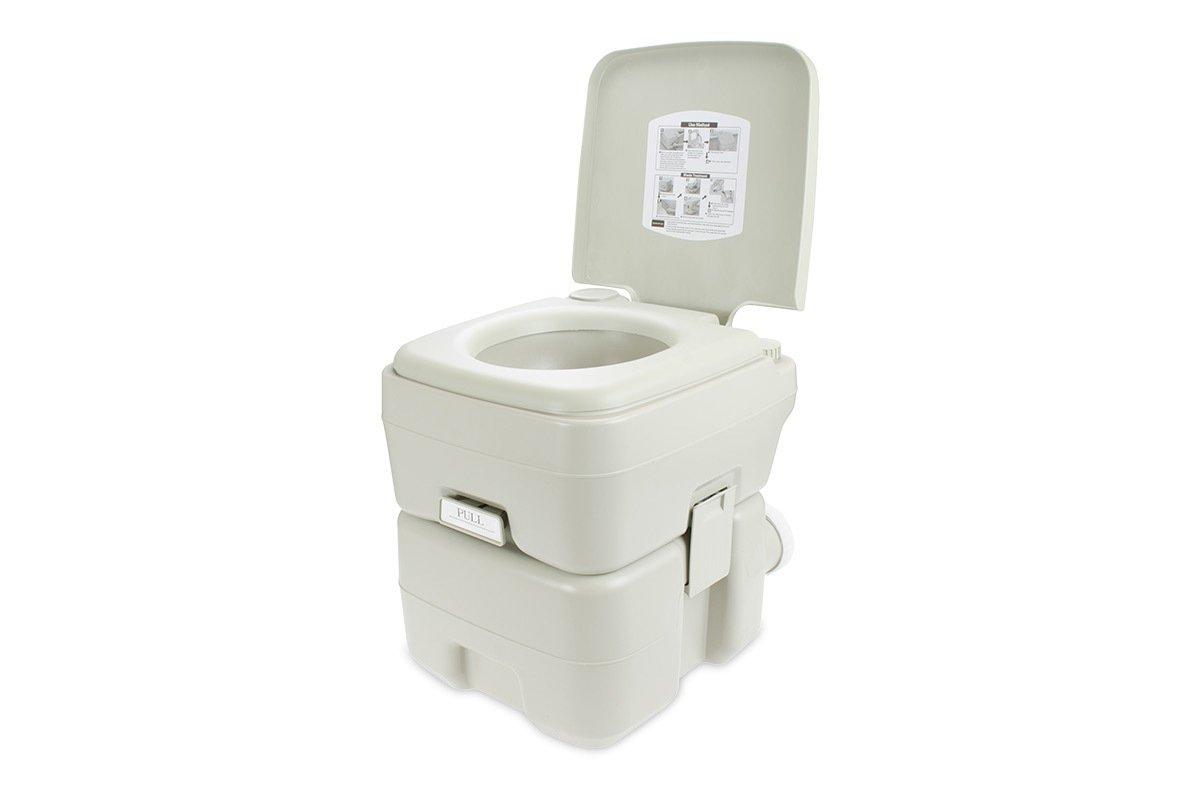 Toilet Porta Potty Seat Piston Pump Flush Cover 5.3 Gallons Water Tank Capacity