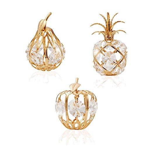 24K Gold Plated Crystal Studded Mini Fruit Ornaments Kit by Matashi - Pear Glass Jewels