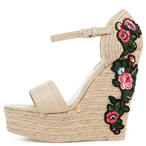 Womens Floral Embroidered Straw Wedges By Cape Robbin Style Zelda-8 (7, Nude) (Floral Sandals Wedge)