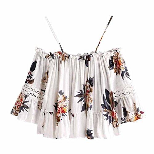 説教セール透けて見えるAliciga レディース シャツ 花柄 スリング オフショルダー 五分袖 不規則なプリント ストラップレス ブラウス フリル袖 Tシャツ 欧米人気 夏 海 かわいい