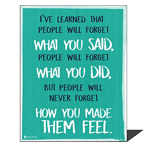 Young N Refined Wise Saying by Maya Angelou Never Forget How You Made Them Feel Aqua Wall Art Perfect for Decorating Kitchens Homes bathrooms bedrooms hallways 16x20