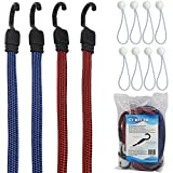Flat Bungee Cords 4 Pack with Bonus 8 Ball Bungees/Flat Bungee Strap by Comtops (48'' 4PC)