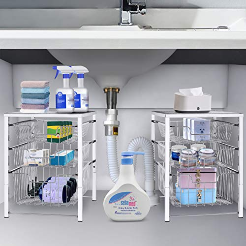 Simple Trending 3-Tier Under Sink Cabinet Organizer with Sliding Storage Drawer, Desktop Organizer for Kitchen Bathroom Office, Stackbale, Chrome