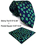 SHLAX&WING Unique Mens Necktie Blue Navy Green Clover Designer Business Extra Long
