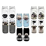 3D Cartoon Funny Low Cut Ankle Socks Amazing Novelty Print Boat Socks (Pug)