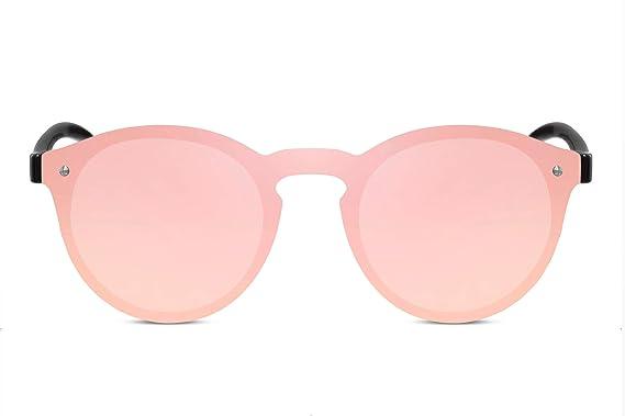 196864f8a0aed5 Cheapass Lunettes de soleil Rondes Monture rose Verres effet miroir  Monopièce Femmes Protection UV400