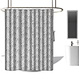 """Shower Curtain Tea Party,Doodle Drawing Monochrome Tableware Pattern with Biscuits and More Tea Quote,Grey White,Design Waterproof Fabric Bathroom Shower Curtain 70""""x70"""""""