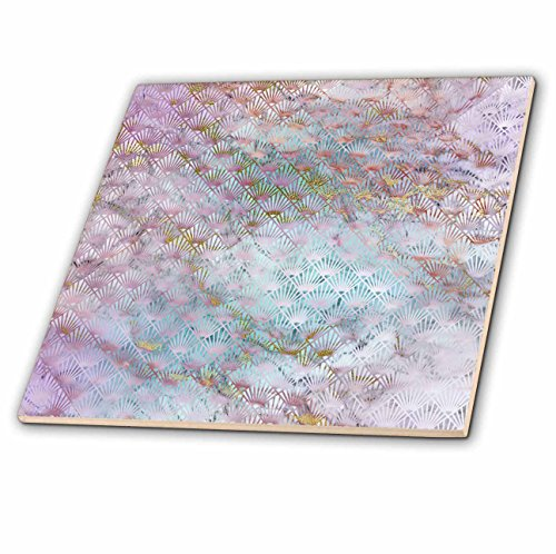 (3dRose Anne Marie Baugh - Patterns - Pink Diamond Fan Over Gold and Blue Marble Effect - 8 Inch Glass Tile (ct_283232_7))