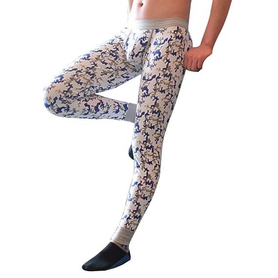 Hibote Pantalones Térmicos para Hombre - Largo Delgado Stretch Leggings Imprimir Cómodo Algodón Ropa Interior Invierno Cálido Calzoncillos Capa Base M-2XL: ...