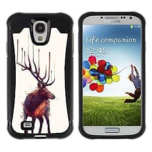 Be-Star único patrón Impacto Shock - Absorción y Anti-Arañazos Funda Carcasa Case Bumper Para SAMSUNG Galaxy S4 IV / i9500 / i9515 / i9505G / SGH-i337 ( Moose Art Nature Animal Wild Forest Painting )