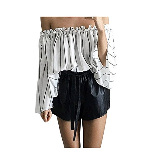 Living Doll Costume Ideas - Lifeisbest Women Sexy Black Stripes Print Ruffled Off Shoulder Bell Sleeve Top(M(US8-10)-2)