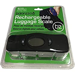 Balanzza MINI USB Rechargable Digital Luggage Scale Capacity with Backlight Display, BZ400U 5 years,Black,One Size