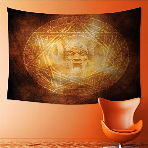 also easy Print Decorative Throw Fabric Tapestry Wall Hanging mDem Trap Symbol Logo Ceremy Creepy Ritual ntasy Paranormal Art Decor for Bedroom(90.5W x 59L INCH) by also easy