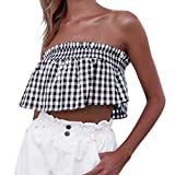 2019 Womens Sexy Plaid Printing Off Shoulder Tank Tops Casual T Shirt Summer Short Blouses (White, XL)