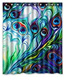KXMDXA Flawless Peacock Feathers Bathroom Polyester Shower Curtain 60x72 Inch