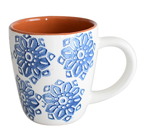 Euro Ceramica Azul Tile Collection Terra Cotta Coffee/Tea Mugs, 12oz, Set of 4, Floral Hand-Painted Design, Blue & White (Floral Collection Blue Mug)